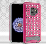 Asmyna Diamante FullStar Protector Cover for Samsung Galaxy S9 - Hot Pink / Iron Gray