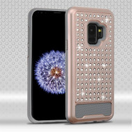 Asmyna Diamante FullStar Protector Cover for Samsung Galaxy S9 - Rose Gold / Iron Gray