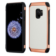 Asmyna Astronoot Protector Cover for Samsung Galaxy S9 - White Lychee Grain(Rose Gold Plating) / Black