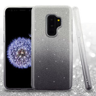 Asmyna Gradient Glitter Hybrid Protector Cover for Samsung Galaxy S9 Plus - Black