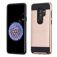 Asmyna Brushed Hybrid Protector Cover for Samsung Galaxy S9 Plus - Rose Gold / Black
