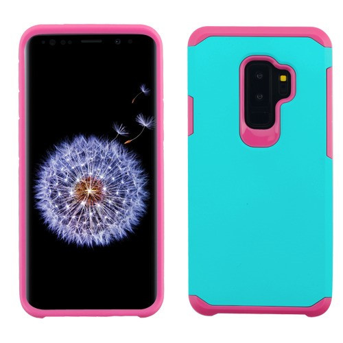 Asmyna Astronoot Protector Cover for Samsung Galaxy S9 Plus - Teal Green / Hot Pink