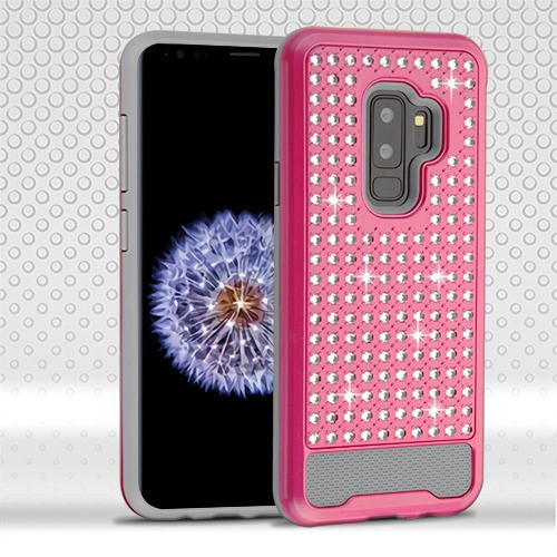 Asmyna Diamante FullStar Protector Cover for Samsung Galaxy S9 Plus - Hot Pink / Iron Gray