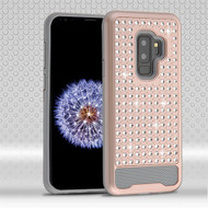 Asmyna Diamante FullStar Protector Cover for Samsung Galaxy S9 Plus - Rose Gold / Iron Gray