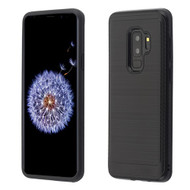 Asmyna Brushed Hybrid Protector Cover (with Carbon Fiber Accent) for Samsung Galaxy S9 Plus - Black / Black
