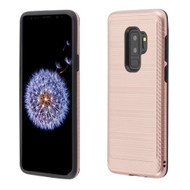 Asmyna Brushed Hybrid Protector Cover (with Carbon Fiber Accent) for Samsung Galaxy S9 Plus - Rose Gold / Black