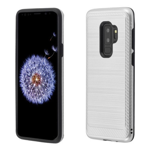 Asmyna Brushed Hybrid Protector Cover (with Carbon Fiber Accent) for Samsung Galaxy S9 Plus - Silver / Black