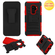 Asmyna Advanced Armor Stand Protector Cover Combo (with Black Holster) for Samsung Galaxy S9 Plus - Black / Red