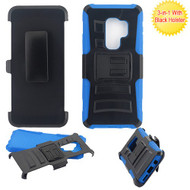 Asmyna Advanced Armor Stand Protector Cover Combo (with Black Holster) for Samsung Galaxy S9 Plus - Black / Blue