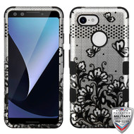 MyBat TUFF Hybrid Protector Cover [Military-Grade Certified] for Google Pixel 3 - Black Lace Flowers (2D Silver) / Black