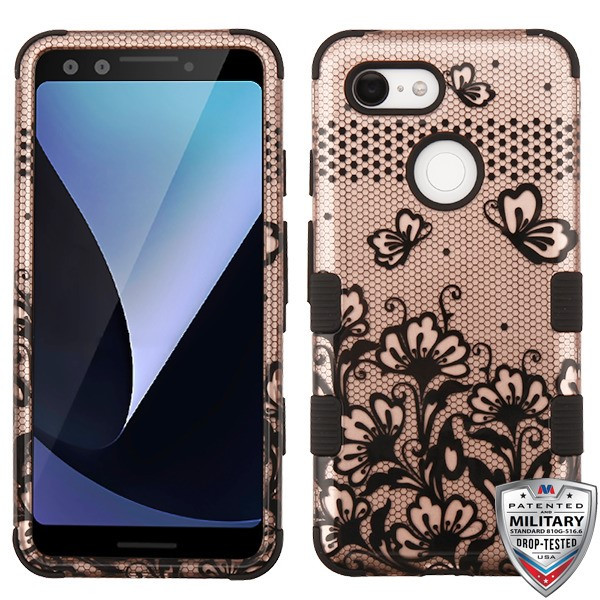 MyBat TUFF Hybrid Protector Cover [Military-Grade Certified] for Google Pixel 3 - Black Lace Flowers (2D Rose Gold) / Black
