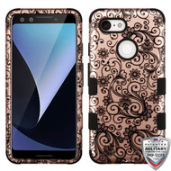 MyBat TUFF Hybrid Protector Cover [Military-Grade Certified] for Google Pixel 3 - Black Four-Leaf Clover (2D Rose Gold) / Black