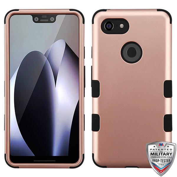 MyBat TUFF Hybrid Protector Cover [Military-Grade Certified] for Google Pixel 3 XL - Rose Gold / Black