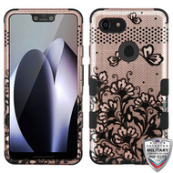 MyBat TUFF Hybrid Protector Cover [Military-Grade Certified] for Google Pixel 3 XL - Black Lace Flowers (2D Rose Gold) / Black