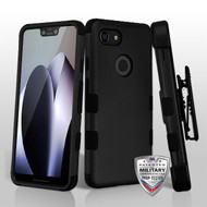 MyBat TUFF Hybrid Protector Case [Military-Grade Certified](with Black Horizontal Holster) for Google Pixel 3 XL - Rubberized Black / Black
