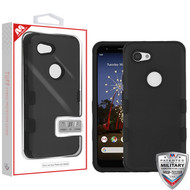 MyBat TUFF Hybrid Protector Cover [Military-Grade Certified] for Google Pixel 3a XL - Rubberized Black / Black