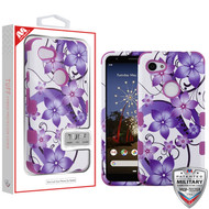 MyBat TUFF Hybrid Protector Cover [Military-Grade Certified] for Google Pixel 3a XL - Purple Hibiscus Flower Romance / Electric Purple