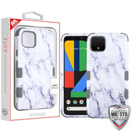 MyBat TUFF Hybrid Protector Cover [Military-Grade Certified] for Google Pixel 4 - White Marbling / Iron Gray