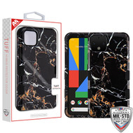 MyBat TUFF Hybrid Protector Cover [Military-Grade Certified] for Google Pixel 4 - Montmartre Marble / Black
