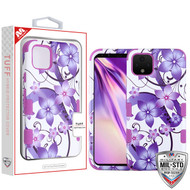 MyBat TUFF Hybrid Protector Cover [Military-Grade Certified] for Google Pixel 4 XL - Purple Hibiscus Flower Romance / Electric Purple