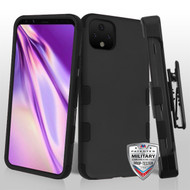 MyBat TUFF Hybrid Protector Case [Military-Grade Certified](with Black Horizontal Holster) for Google Pixel 4 XL - Rubberized Black / Black