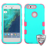 MyBat TUFF Hybrid Protector Cover [Military-Grade Certified] for Google Pixel (5.0) - Rubberized Teal Green / Electric Pink