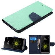 MyBat Liner MyJacket Wallet Crossgrain Series for Lg G5 - Teal Green Pattern / Dark Blue
