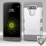 MyBat Brushed TUFF Trooper Hybrid Protector Cover [Military-Grade Certified] for Lg G5 - Silver / Iron Gray