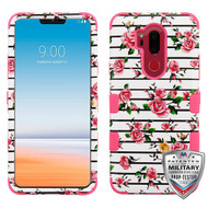 MyBat TUFF Hybrid Protector Cover [Military-Grade Certified] for Lg G710 (G7 Thinq) - Pink Fresh Roses / Electric Pink