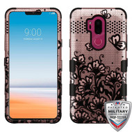 MyBat TUFF Hybrid Protector Cover [Military-Grade Certified] for Lg G710 (G7 Thinq) - Black Lace Flowers (2D Rose Gold) / Black