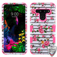 MyBat TUFF Hybrid Protector Cover [Military-Grade Certified] for Lg G8 ThinQ - Pink Fresh Roses / Electric Pink