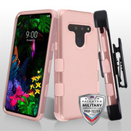 MyBat TUFF Hybrid Protector Case [Military-Grade Certified](with Black Horizontal Holster) for Lg G8 ThinQ - Rose Gold / Rose Gold
