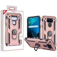 MyBat Anti-Drop Hybrid Protector Cover (with Ring Stand) for Lg Harmony 4 - Rose Gold / Black