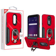 MyBat Hybrid Protector Cover (with Ring Holder Kickstand Bottle) for Lg Tribute Royal - Red / Black