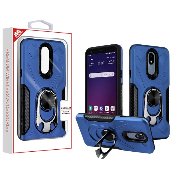 MyBat Hybrid Protector Cover (with Ring Holder Kickstand Bottle) for Lg Tribute Royal - Ink Blue / Black