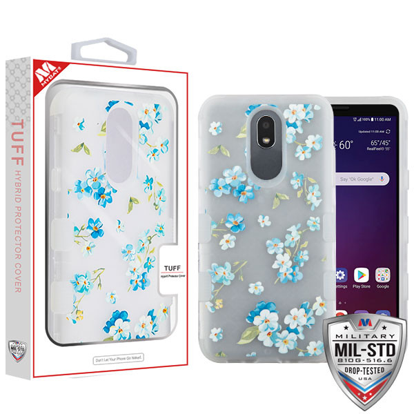 MyBat TUFF Hybrid Protector Cover [Military-Grade Certified] for Lg X320 (Escape Plus) - Semi Transparent White Frosted Aqua Myositis / Transparent White