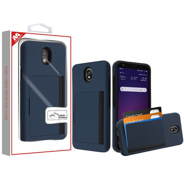 MyBat Poket Hybrid Protector Cover (with Back Film) for Lg X320 (Escape Plus) - Ink Blue / Black
