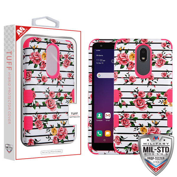 MyBat TUFF Hybrid Protector Cover [Military-Grade Certified] for Lg X320 (Escape Plus) - Pink Fresh Roses / Electric Pink
