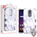 MyBat TUFF Hybrid Protector Cover [Military-Grade Certified] for Lg X320 (Escape Plus) - White Marbling / Iron Gray