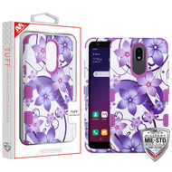 MyBat TUFF Hybrid Protector Cover [Military-Grade Certified] for Lg X320 (Escape Plus) - Purple Hibiscus Flower Romance / Electric Purple