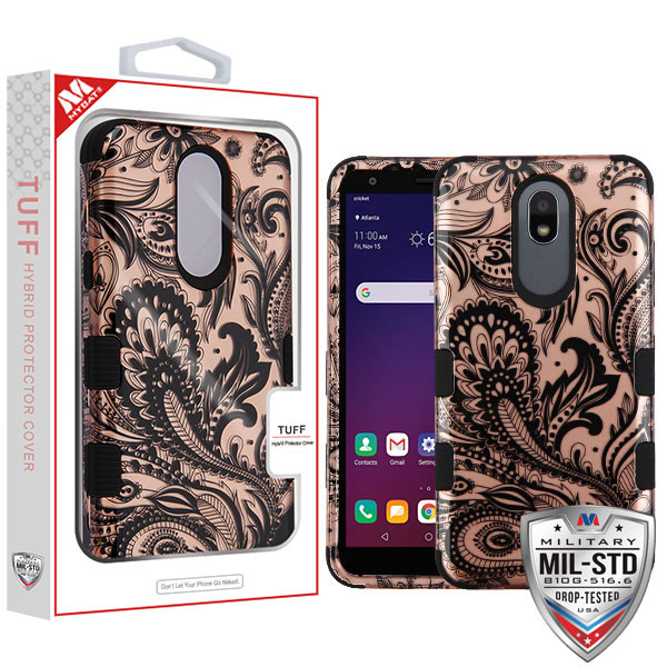 MyBat TUFF Hybrid Protector Cover [Military-Grade Certified] for Lg X320 (Escape Plus) - Phoenix Flower (2D Rose Gold) / Black