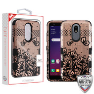 MyBat TUFF Hybrid Protector Cover [Military-Grade Certified] for Lg X320 (Escape Plus) - Black Lace Flowers (2D Rose Gold) / Black