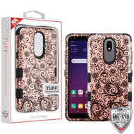 MyBat TUFF Hybrid Protector Cover [Military-Grade Certified] for Lg X320 (Escape Plus) - Black Four-Leaf Clover (2D Rose Gold) / Black