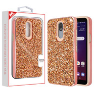 MyBat Encrusted Rhinestones Hybrid Case for Lg X320 (Escape Plus) - Electroplated Rose Gold / Rose Gold