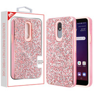 MyBat Encrusted Rhinestones Hybrid Case for Lg X320 (Escape Plus) - Electroplated Pink / Pink