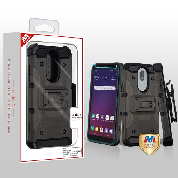 MyBat 3-in-1 Kinetic Hybrid Protector Cover Combo (with Black Holster)(Tempered Glass Screen Protector) for Lg X320 (Escape Plus) - Dark Grey / Black