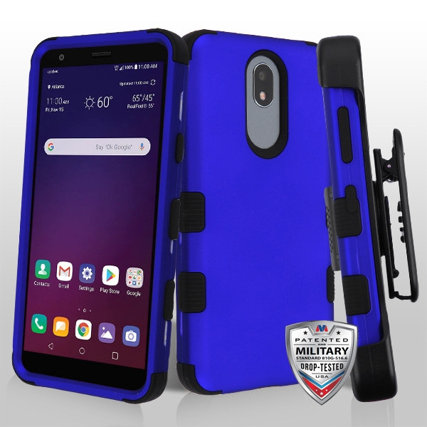 MyBat TUFF Hybrid Protector Case Combo (with Black Horizontal Holster) [Military-Grade Certified] for Lg X320 (Escape Plus) - Titanium Dark Blue / Black