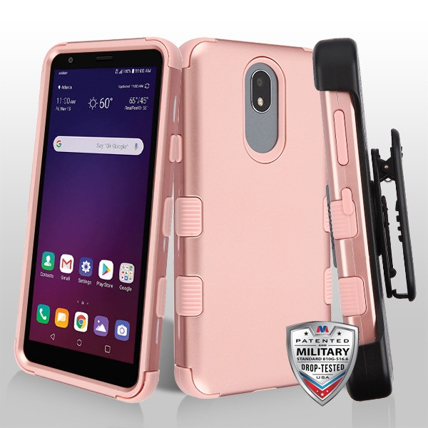 MyBat TUFF Hybrid Protector Case [Military-Grade Certified](with Black Horizontal Holster) for Lg X320 (Escape Plus) - Rose Gold / Rose Gold