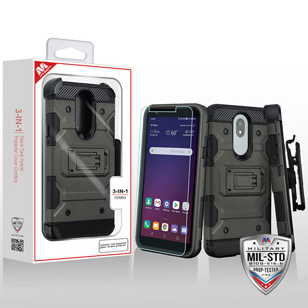 MyBat 3-in-1 Storm Tank Hybrid Protector Cover Combo (with Black Holster)(Tempered Glass Screen Protector)[Military-Grade Certified] for Lg X320 (Escape Plus) - Dark Grey / Black