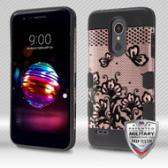MyBat TUFF Trooper Hybrid Protector Cover [Military-Grade Certified] for Lg K10 (2018) - Black Lace Flowers (2D Rose Gold) / Black